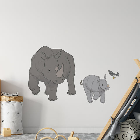 Rhino Family Safari Collection Wall Sticker