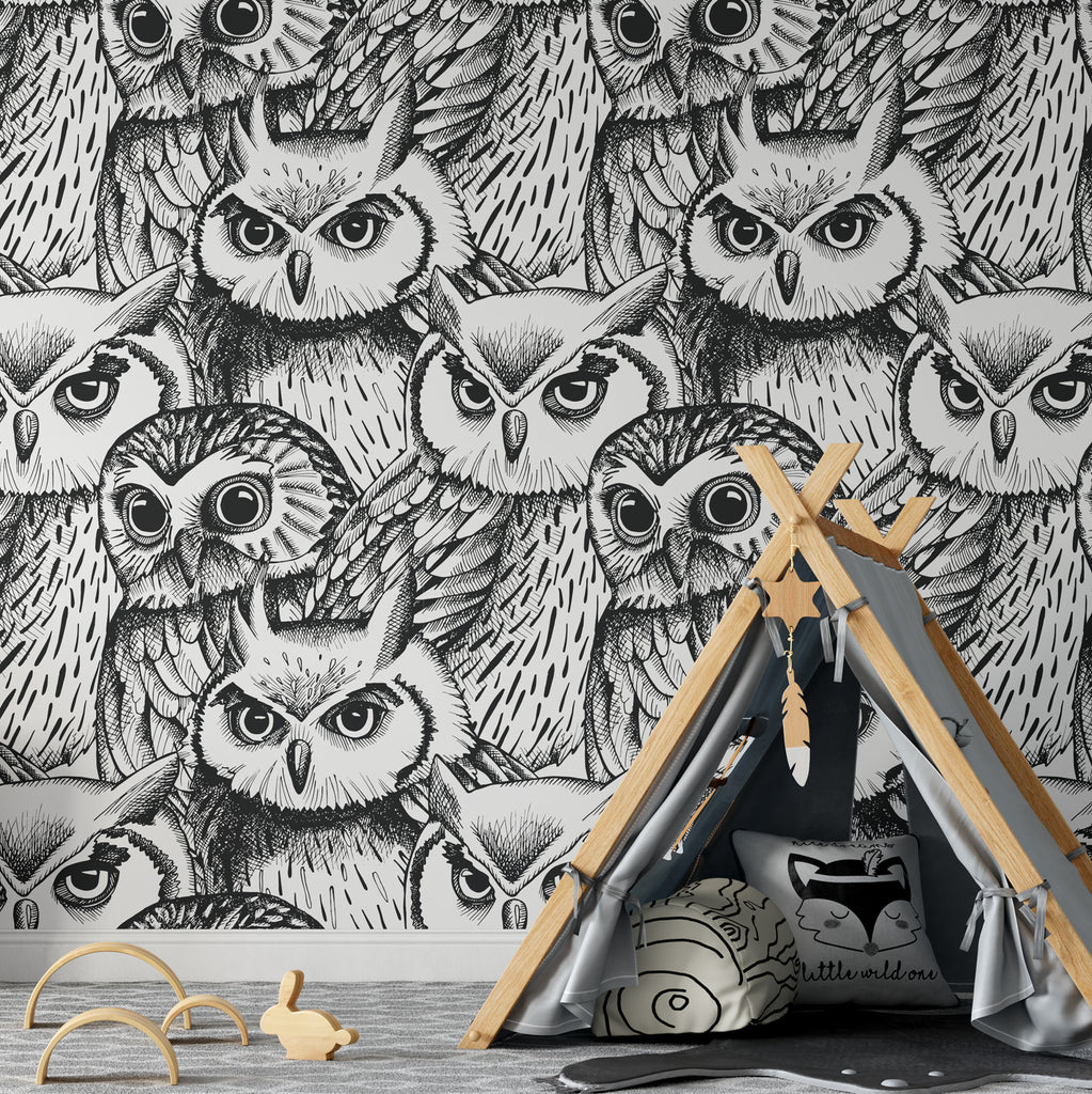 Owl Sketch Wallpaper