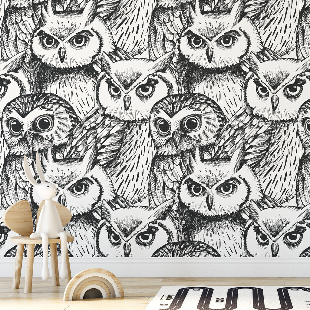 Owl Sketch Wallpaper Sample