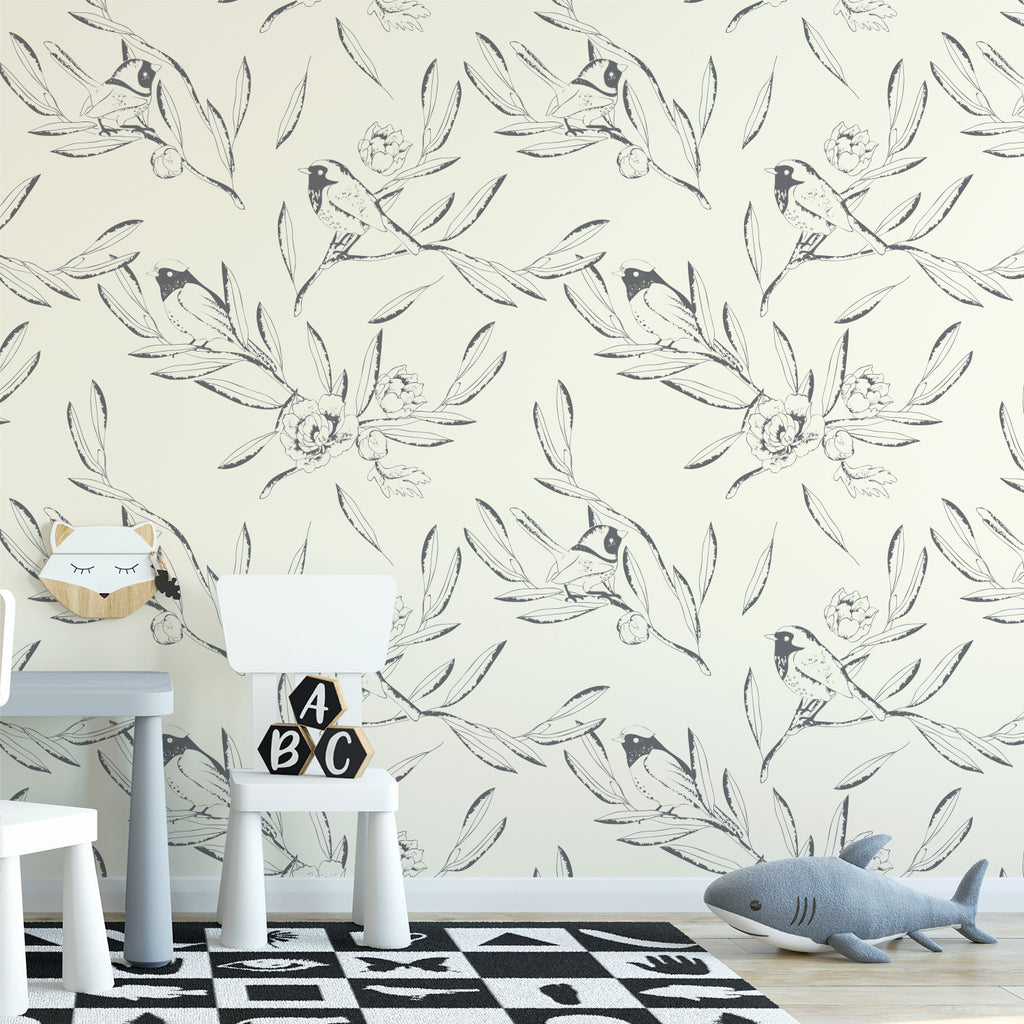 Hand Drawn Leaves & Bird Wallpaper Sample