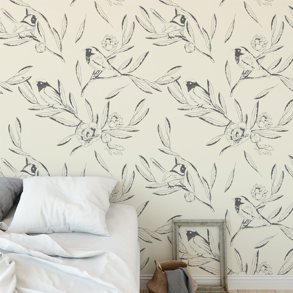 Hand Drawn Leaves & Bird Wallpaper