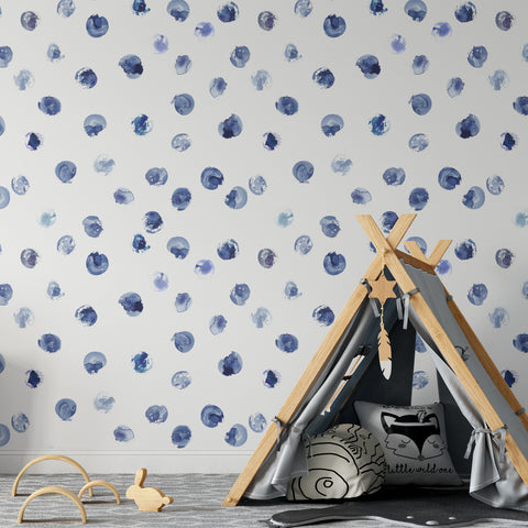 Blue Paint Spots Wallpaper
