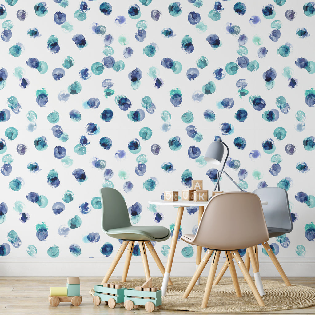 Purple & Green Paint Spots Wallpaper Sample