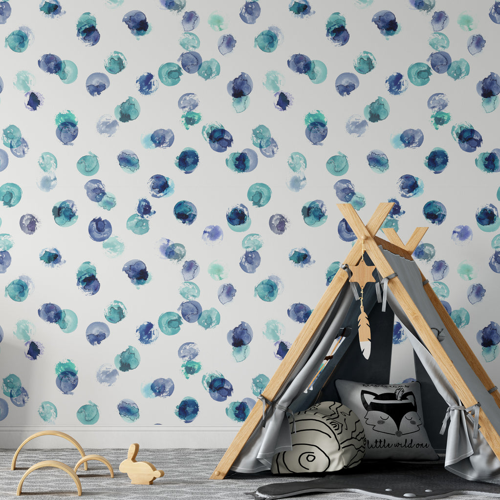 Purple & Green Paint Spots Wallpaper