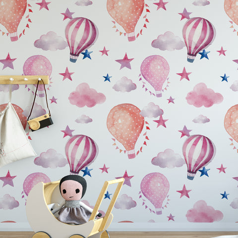 Watercolour Hot Air Balloon Wallpaper Sample