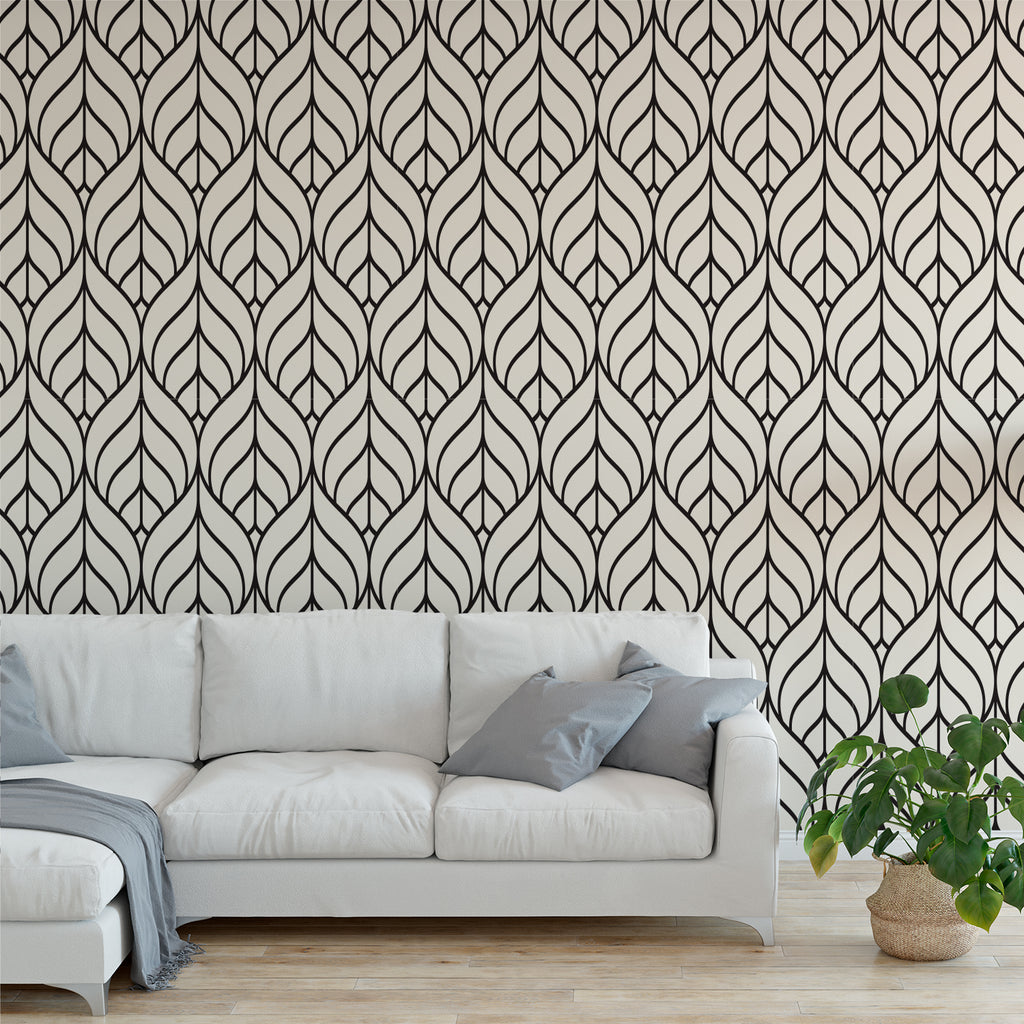 Black Leaves Geometric Wallpaper