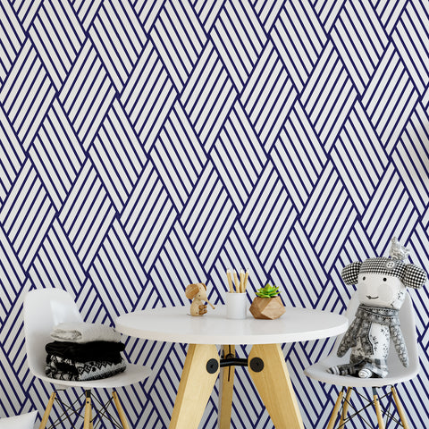 Navy Diamond Pattern Wallpaper