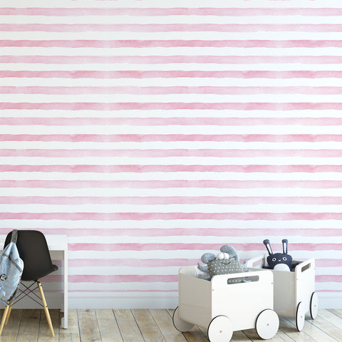 Pink Watercolour Stripes Wallpaper
