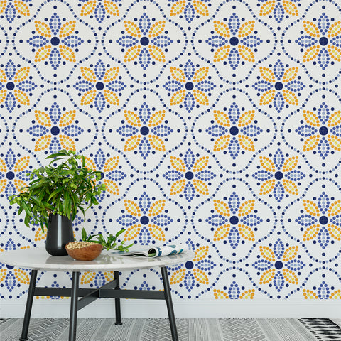 Sunflower Geometric Pattern Wallpaper Sample