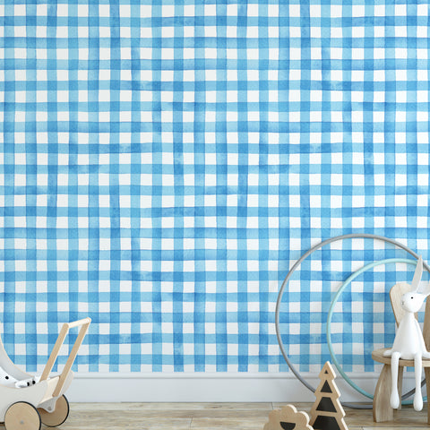 Watercolour Gingham Wallpaper Sample
