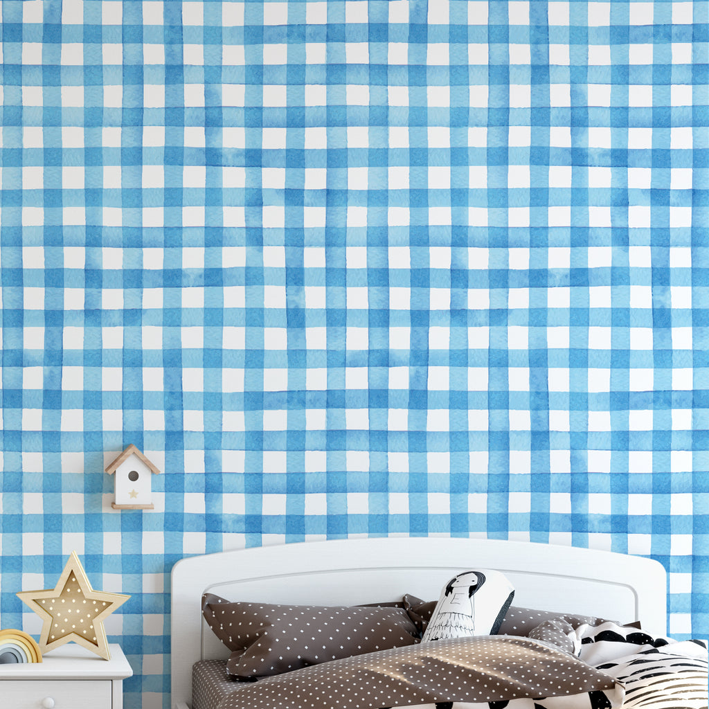 Watercolour Gingham Wallpaper
