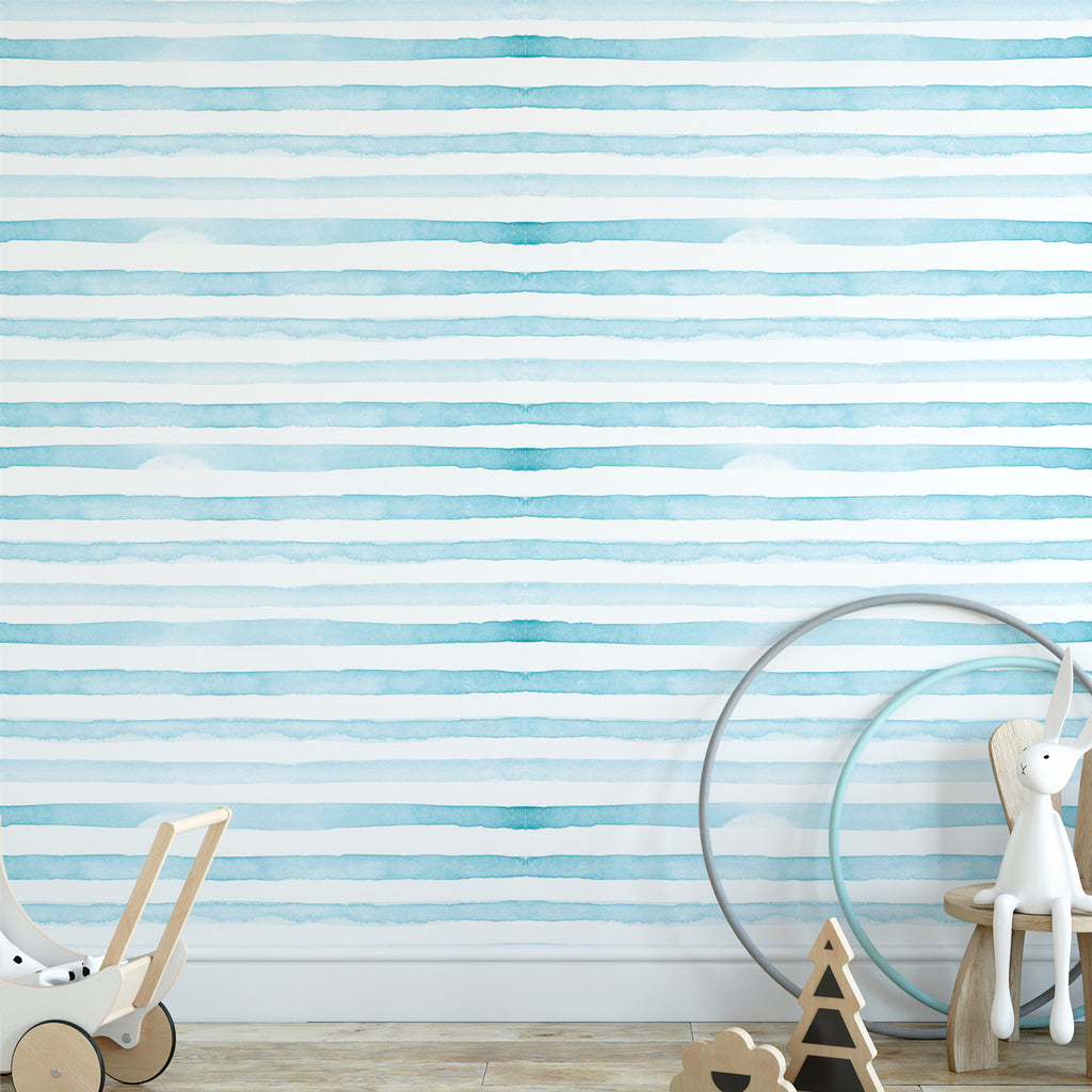 Watercolour Stripes Wallpaper