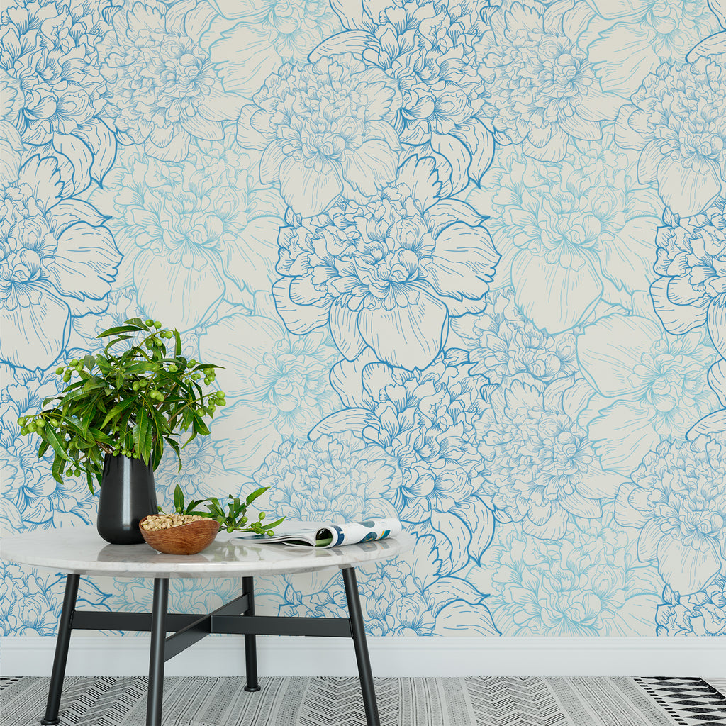 Blue Floral Wallpaper Sample