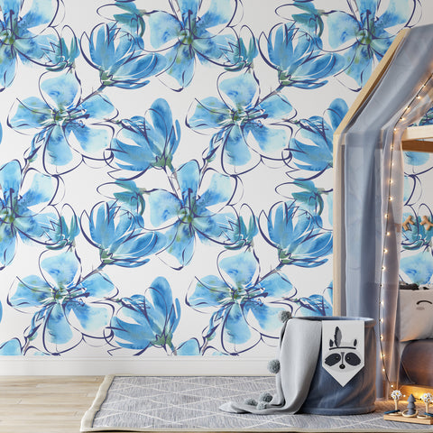 Watercolour Blue Daisy Wallpaper