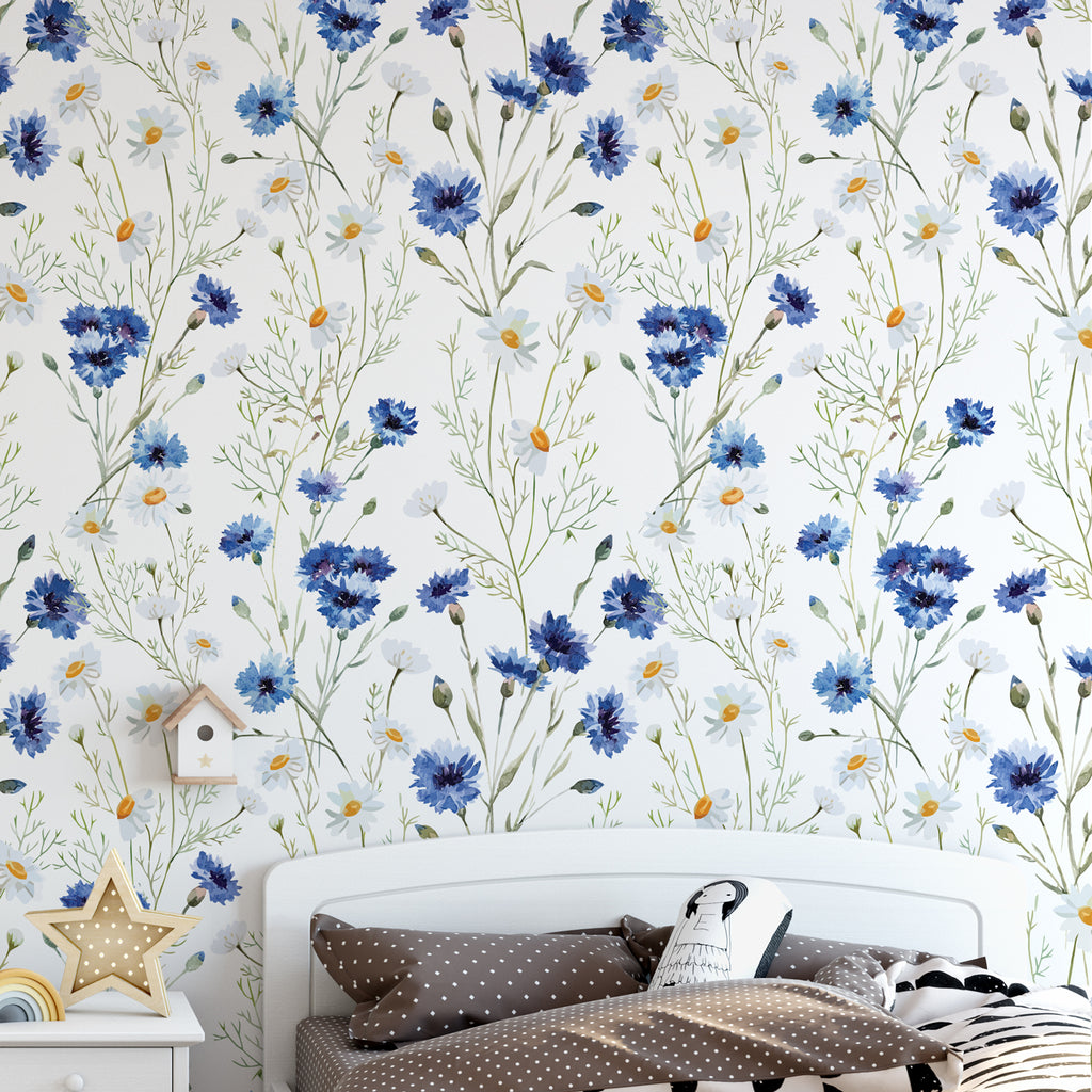 Daisy & Cornflower Wallpaper Sample