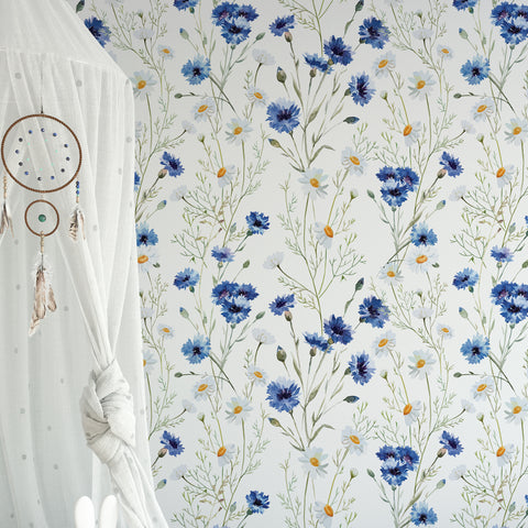 Daisy & Cornflower Wallpaper
