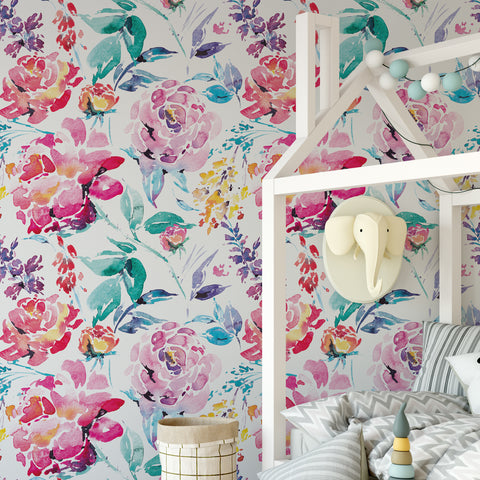 Painted Floral Wallpaper Sample