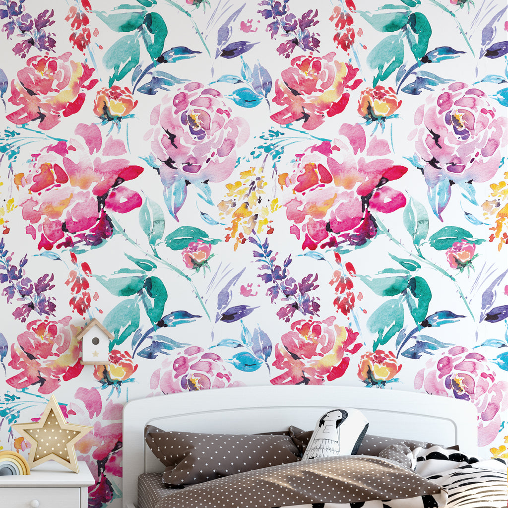 Painted Floral Wallpaper
