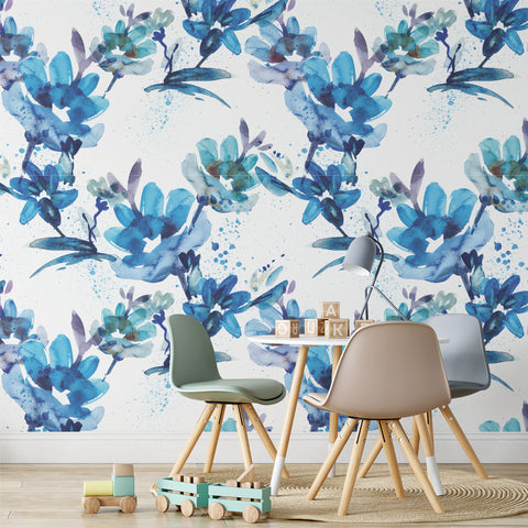 Watercolour Blue Floral Wallpaper Sample