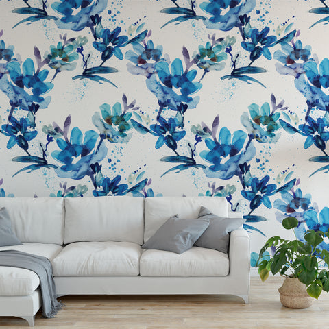 Watercolour Blue Floral Wallpaper