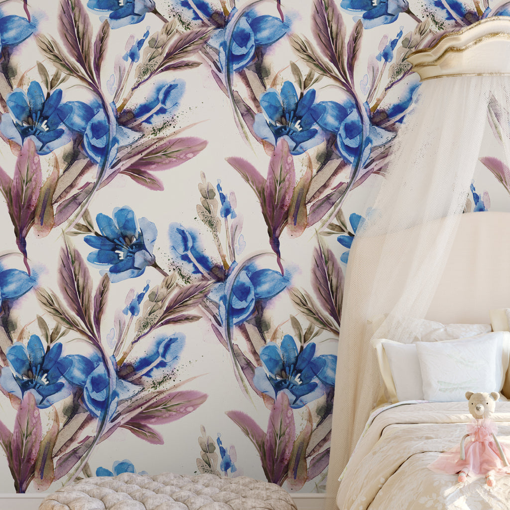 Hand Painted Watercolour Blue Floral Wallpaper Sample