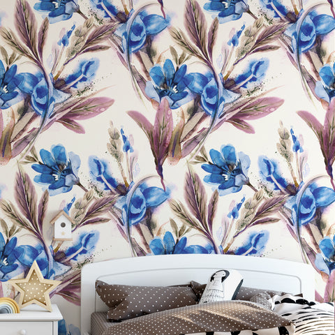 Hand Painted Watercolour Blue Floral Wallpaper