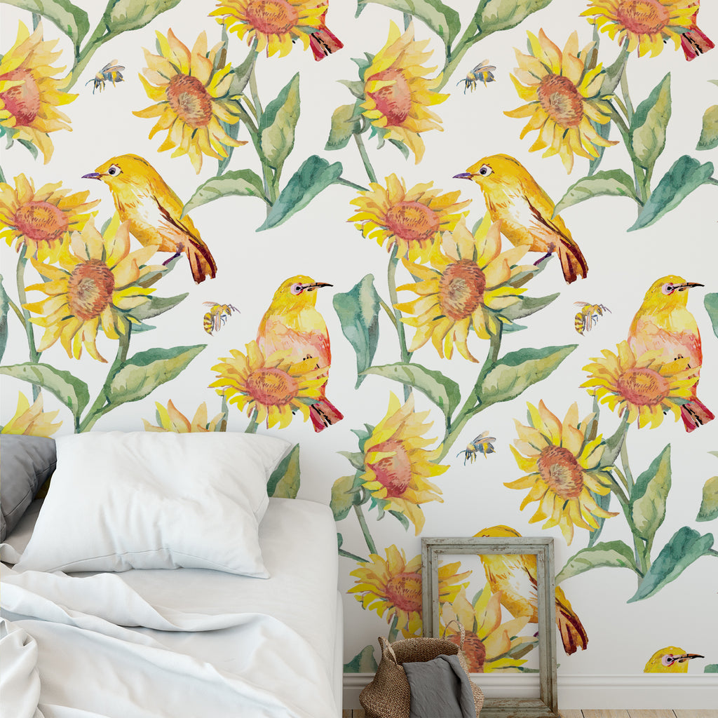 Watercolour Sunflower Wallpaper