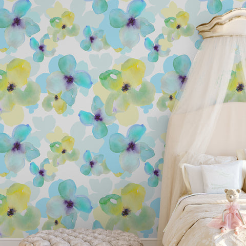 Yellow & Blue Daisy Floral Wallpaper Sample