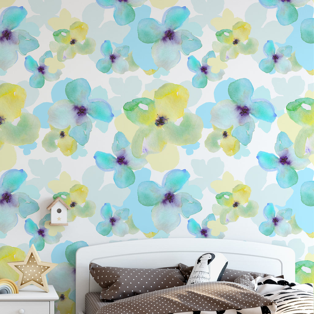 Yellow & Blue Daisy Floral Wallpaper