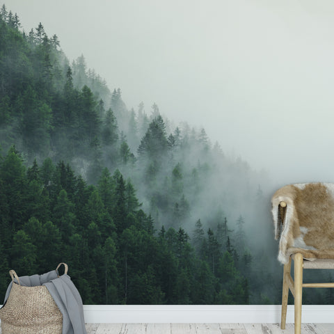 Foggy Jungle Mountain Wall Mural