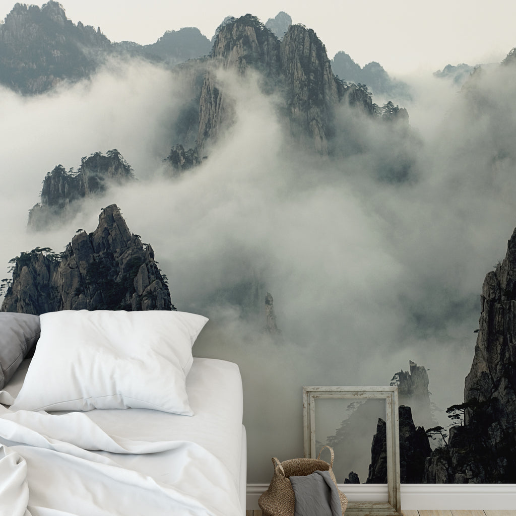 Foggy Mountain Scene Wall Mural