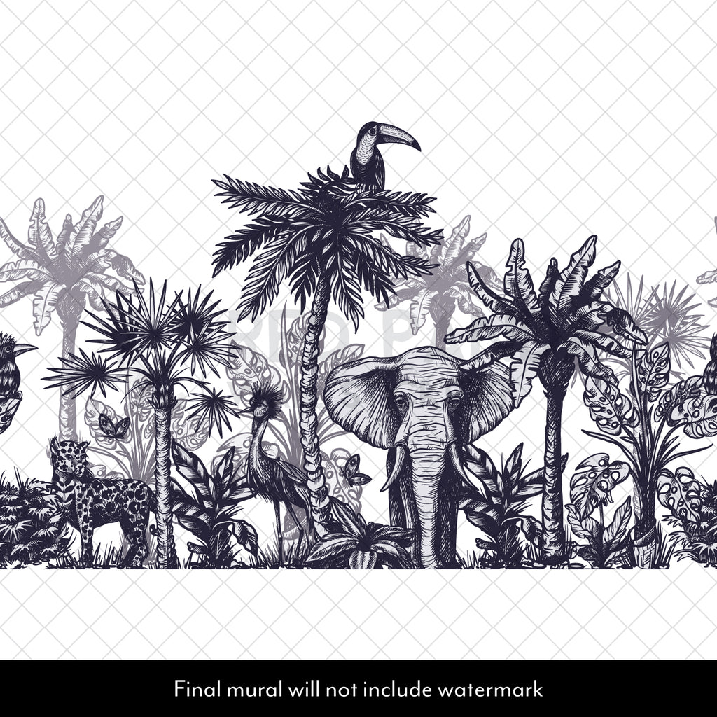 Jungle Animal Collection Illustration Wall Mural