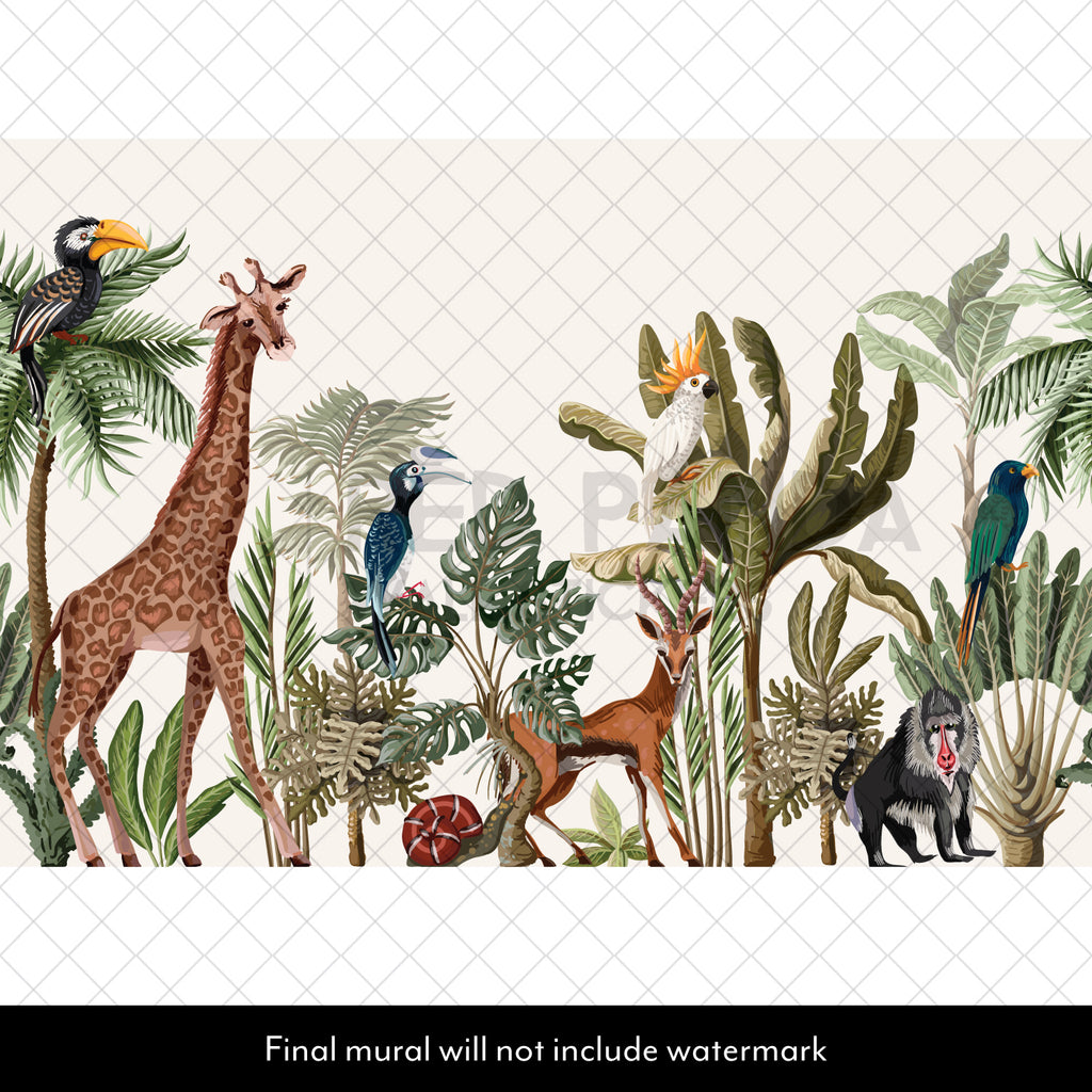 Animal Jungle Scene Mural