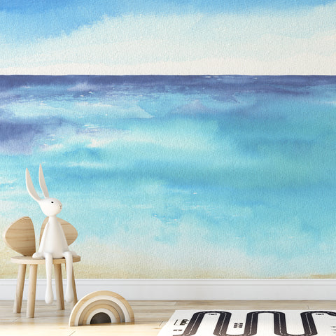 Beach Watercolour Nursery Wall Mural
