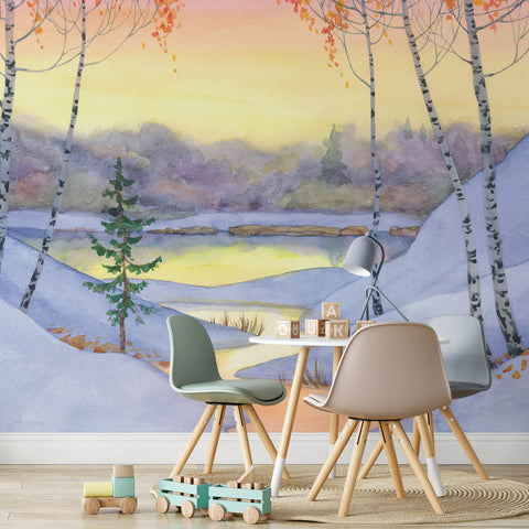 Snowy Lake Wall Mural