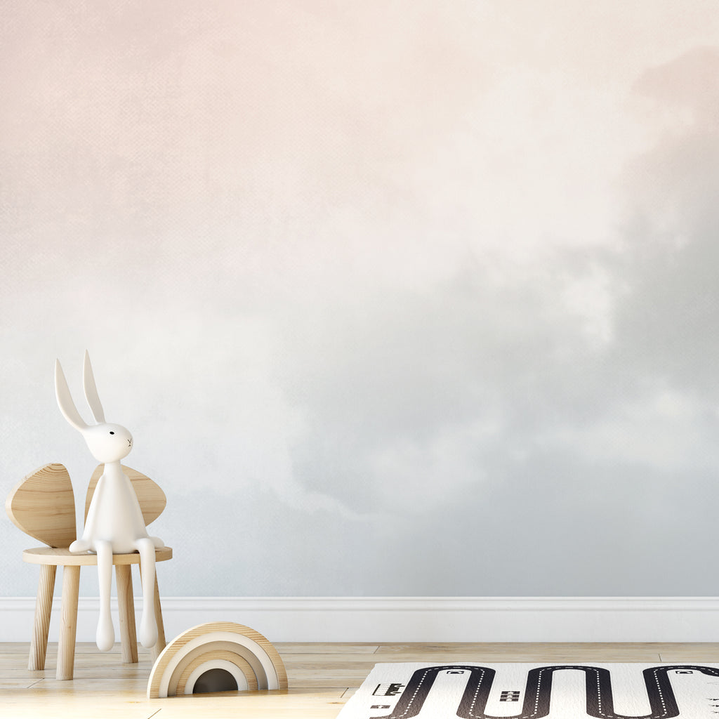 Pastel Grey Watercolour Sky Wall Mural