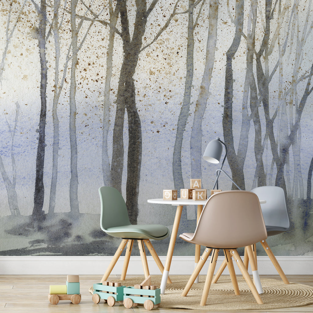 Watercolour Foggy Forest Wall Mural