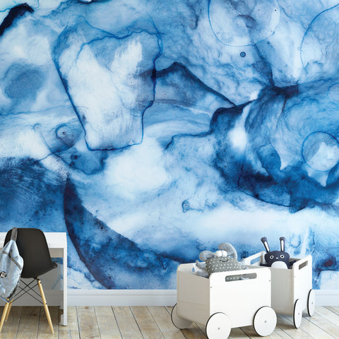Blue Watercolour Splash Wall Mural