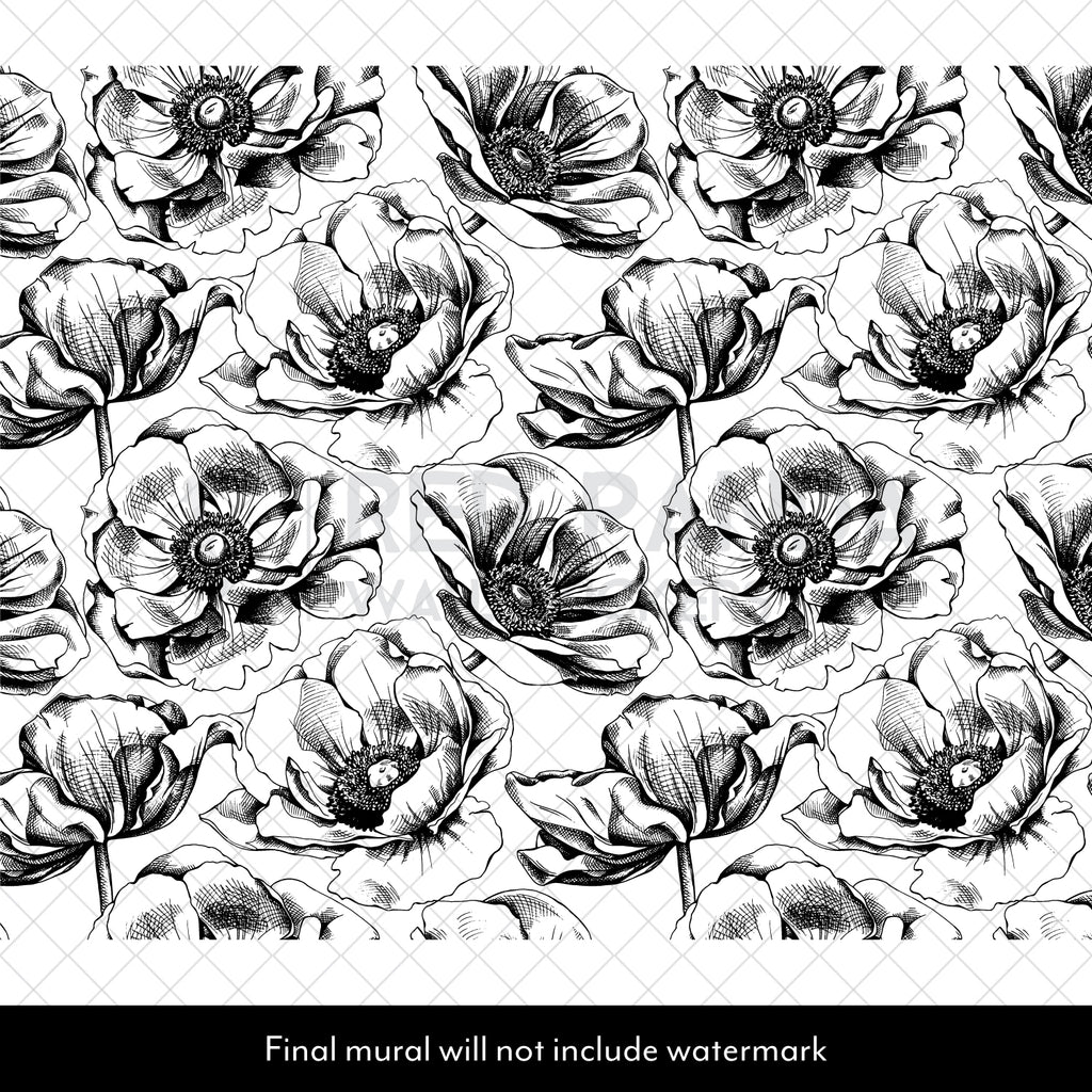 Black & White Sketched Peonies Mural
