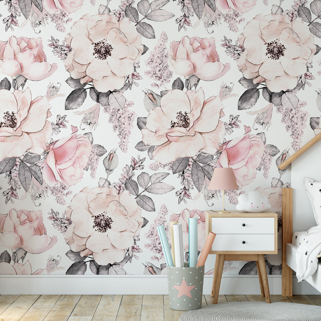 Soft Pastel Rose Wall Mural