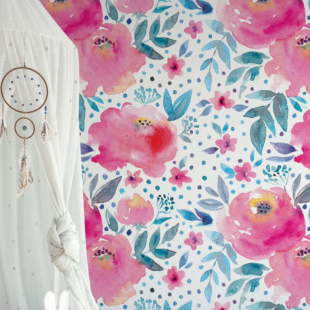 Hand Painted Watercolour Floral Wall Mural
