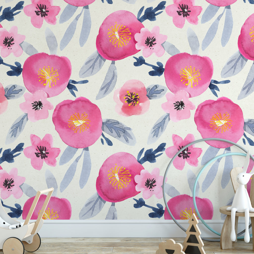 Poppy Watercolour Wall Mural