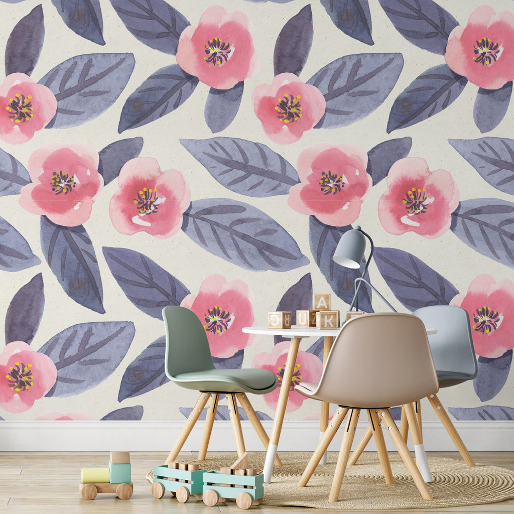 Navy Poppy Watercolour Wall Mural