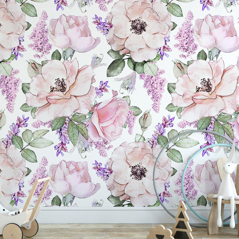 Pastel Purple Rose Wall Mural