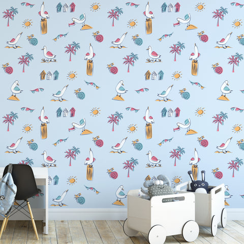 Beach Icons Nursery Wallpaper