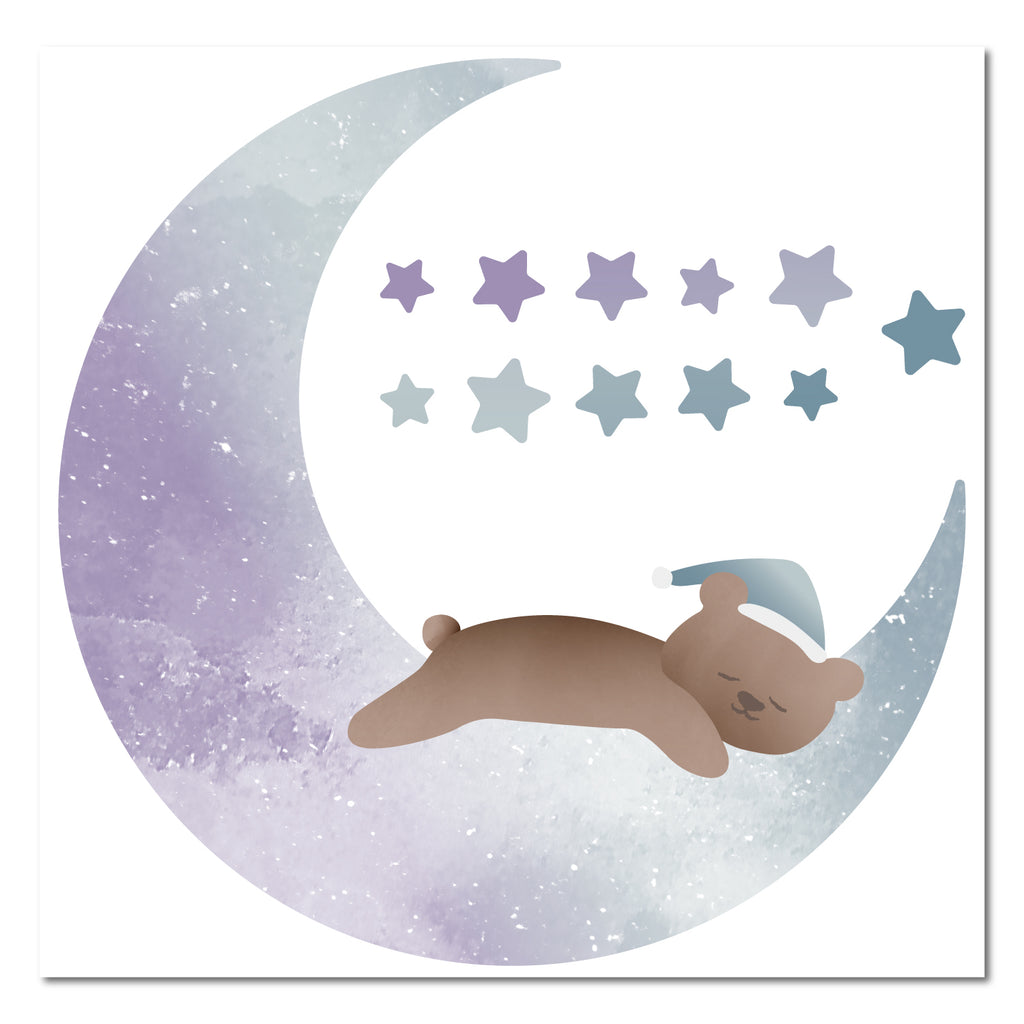 Sleepy Bear Half Moon Wall Sticker