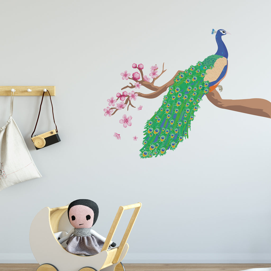 Peacock Jungle Nursery Wall Sticker