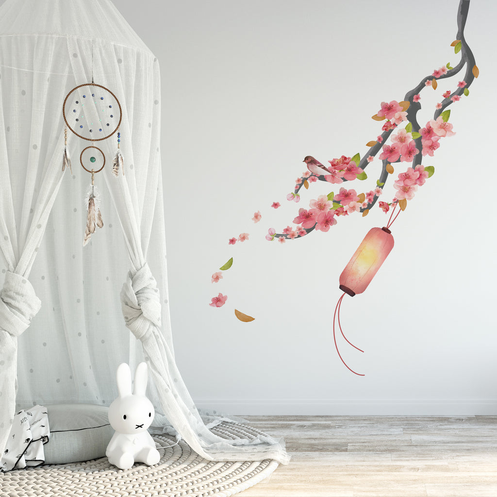Single Cherry Blossom Nursery Wall Sticker