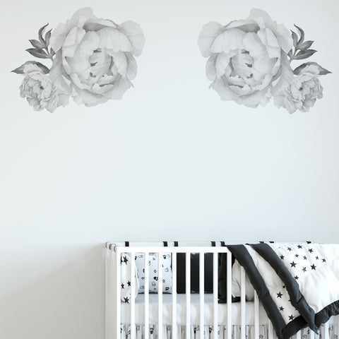 Peonies Black & White Floral Wall Sticker