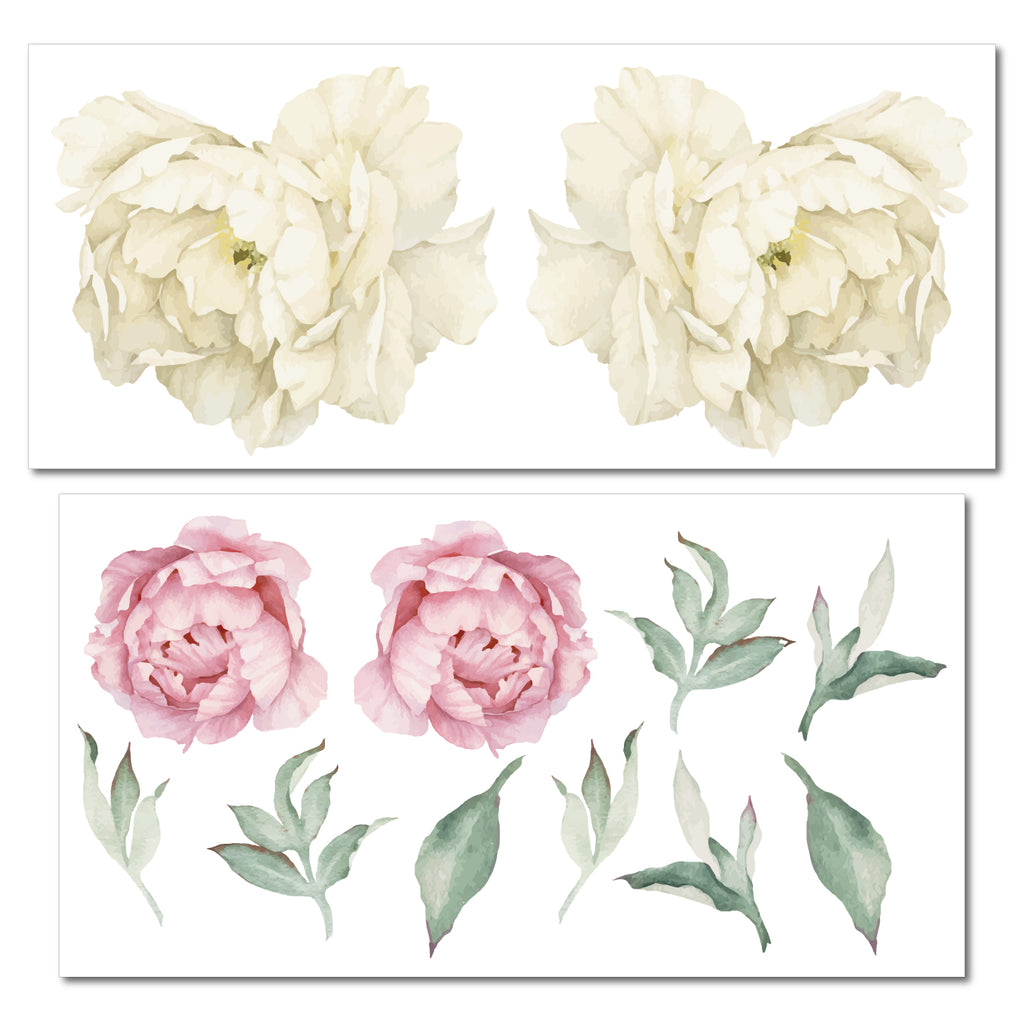 Peonies Pink & White Floral Wall Sticker